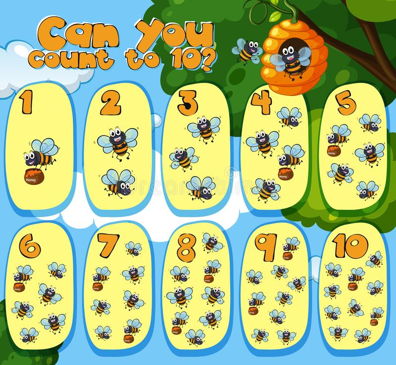 Mathematics Counting Bees 1 to 10 stock illustration