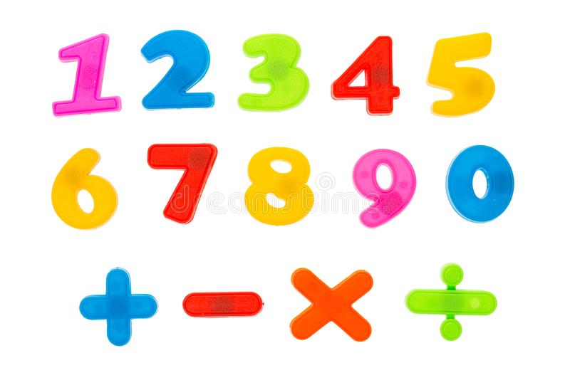 Mathematics and education school concept. Colored numbers figures from 1 to 9 with signs isolated on white. Mathematics and education school concept. Colored stock photography
