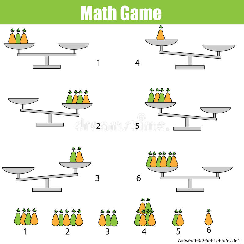 Mathematics educational game for children. balance the scale. Learning counting, mathematical equation, weights and algebra royalty free illustration
