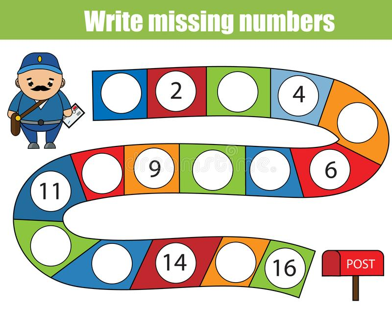 Mathematics educational game for children. Write the missing numbers royalty free illustration