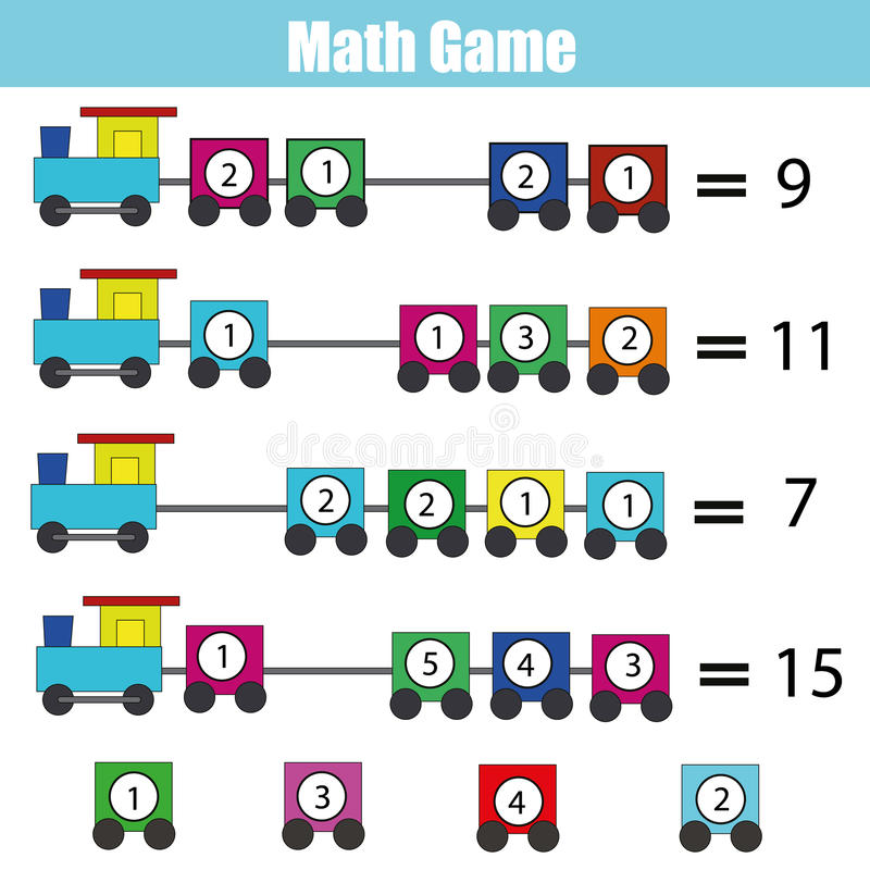 Mathematics Educational Game For Children. Learning Addition Stock ...