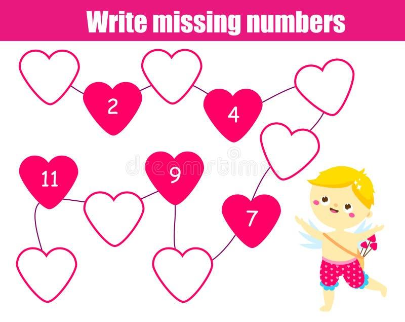 Mathematics edukacyjna gra dla dzieci Pisze brakujących liczbach śliczna amorek chłopiec St walentynek dnia tematu zabawa dla dzi royalty ilustracja