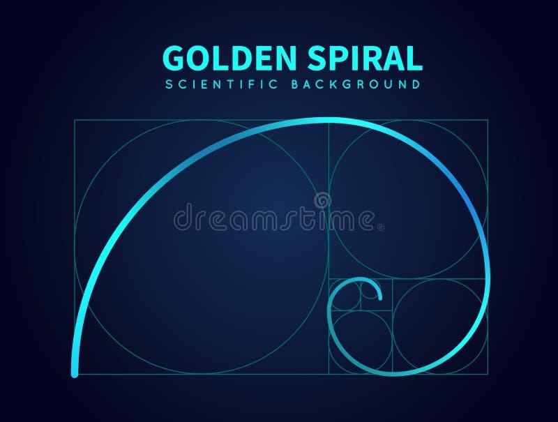 Mathematics formula of fibonacci spiral. Golden ratio section rule. Vector abstract background stock illustration