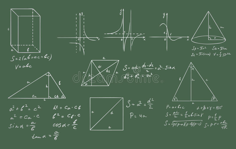 Mathematics And Geometry  Vector On Green Stock Photos
