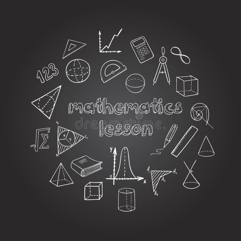 Mathematics Hand Drawn Icons Set. With elements of geometry and algebra on blackboard isolated vector illustration stock illustration