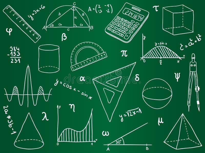 Mathematics Icons On School Board Stock Vector - Illustration of ...