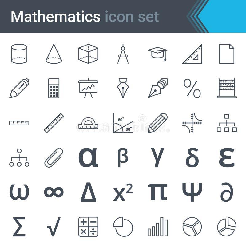 Mathematics kreskowa ikona ustawia - abakusa, władca, kalkulator, mapa, pi, trójbok, sinusoida royalty ilustracja