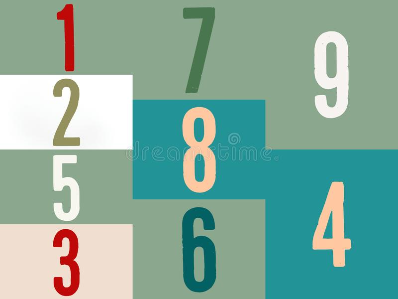 Mathematics numbers in multicolor on a color full background stock illustration