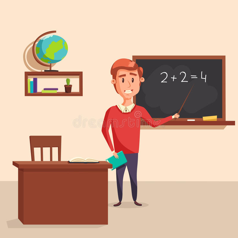 Mathematics teacher with pointer in blackboard with chalk showing arithmetic number calculation. Books and globe on shelf behind table with class journal. Good vector illustration