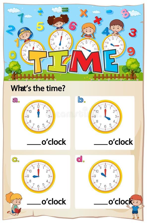 Mathematics Time Chapter Work Sheet stock illustration