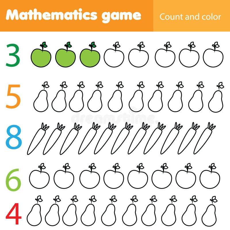 Mathematics worksheet dla dzieciaków Liczy edukacyjną dziecko aktywność z owoc i warzywo i barwi royalty ilustracja