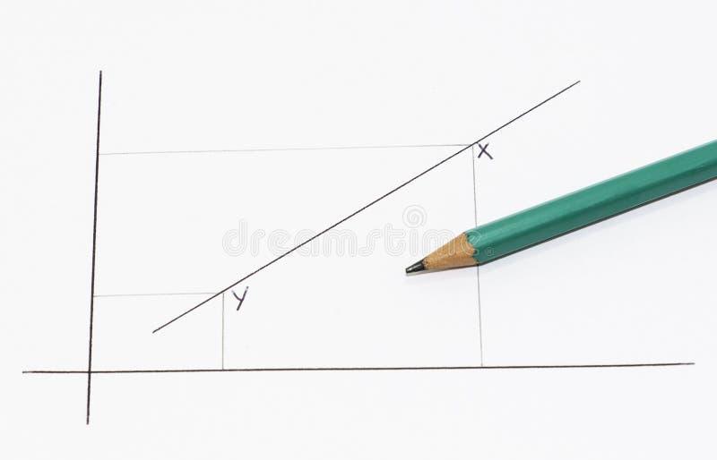 Mathematik-Graph und grüner Bleistift auf einem weißen Blatt stockfoto