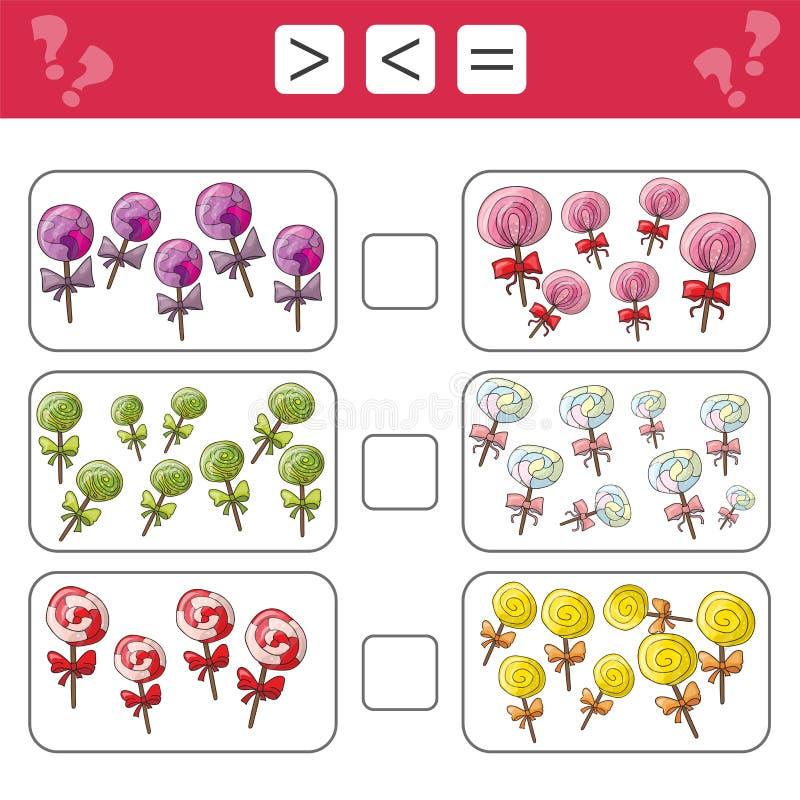 Mathematik lernend, Zahlen - wählen Sie mehr, weniger oder Gleichgestelltes Aufgaben für Kinder lizenzfreie abbildung