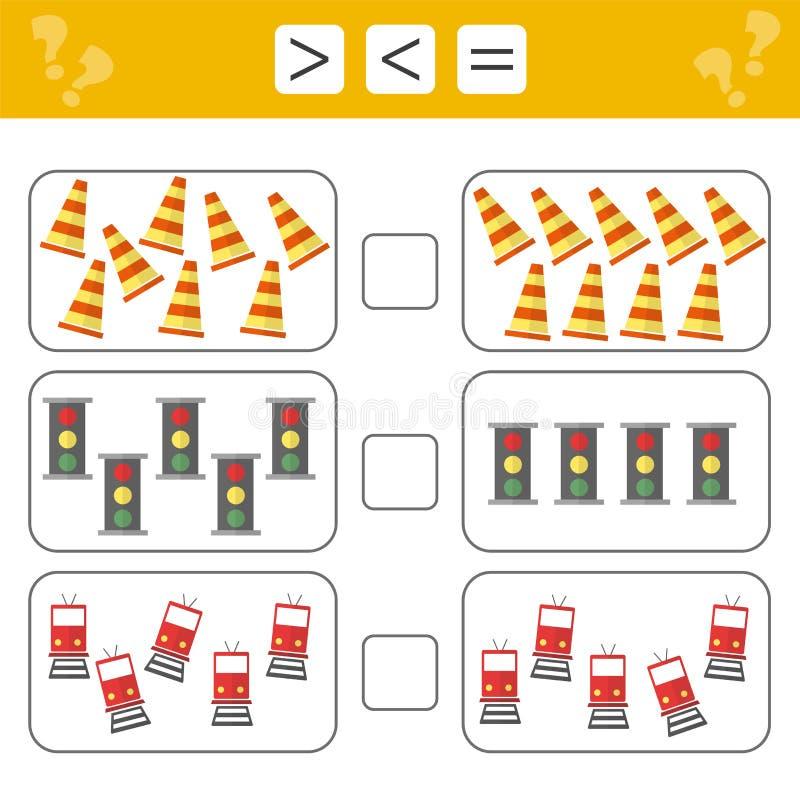 Mathematik lernend, Zahlen - wählen Sie mehr, weniger oder Gleichgestelltes Aufgaben für Kinder stock abbildung