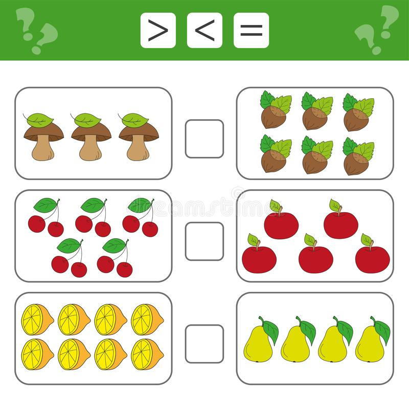 Mathematikarbeitsblatt für Kinder Pädagogische Tätigkeit der Zählung Kinder vektor abbildung