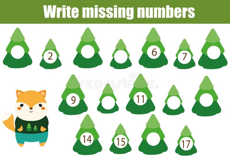 Mathematiklernspiel für Kinder Schreiben Sie die fehlenden Zahlen lizenzfreie abbildung
