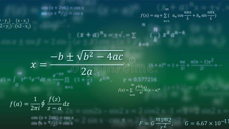 Mathematische Formeln Abstrakter grüner Hintergrund mit den Mathegleichungen, die auf Tafel schwimmen Muster für Abdeckung lizenzfreie abbildung