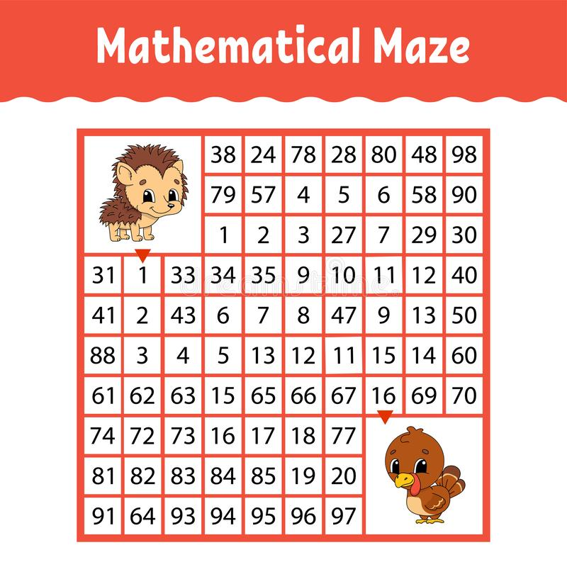 Mathematisches farbiges quadratisches Labyrinth Sich entwickelndes Arbeitsblatt der Ausbildung Spiel für Kinder Puzzlespiel für K stock abbildung