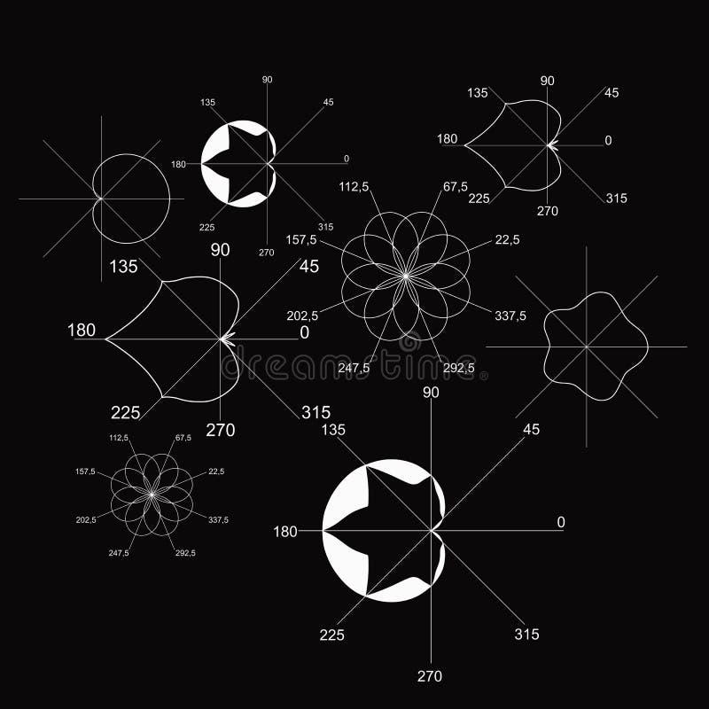 Mathematisches Schwarzweiss-Muster mit Diagrammen in Form von botanischen Gegenständen im Vektor lizenzfreie abbildung