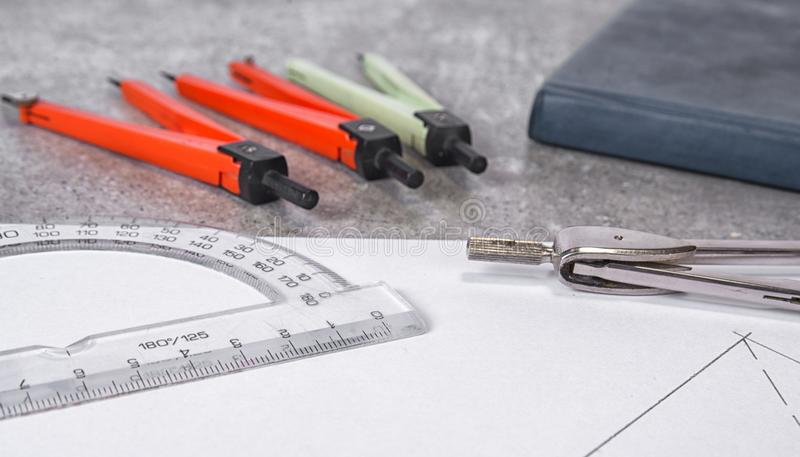 Mathemethics and geometry tools in the school and projecting.  royalty free stock image