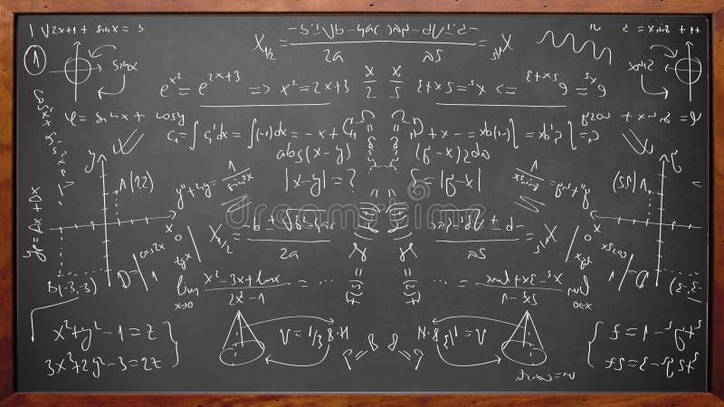 Mathephysikformeln auf Tafel stockbilder