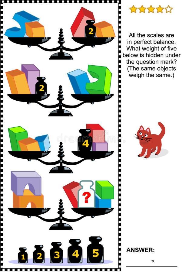 Mathepuzzlespiel mit Skalen, Gewichten und Körpern vektor abbildung