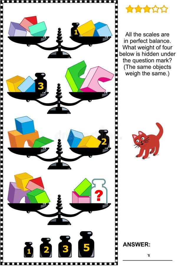 Mathepuzzlespiel mit Skalen, Gewichten, Würfeln, Bögen und Halbwürfeln stock abbildung