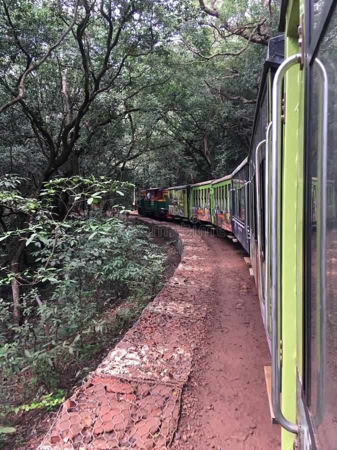 Matheran-Hügelzug, der auf Amanlodge-Station Bezirk Raigad-Maharashtra INDIEN sich bewegt lizenzfreies stockbild