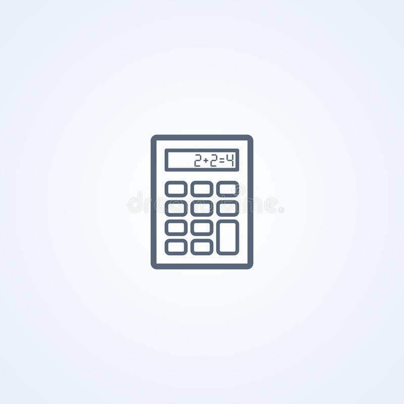 Mathetaschenrechner, beste graue Linie Ikone des Vektors stock abbildung