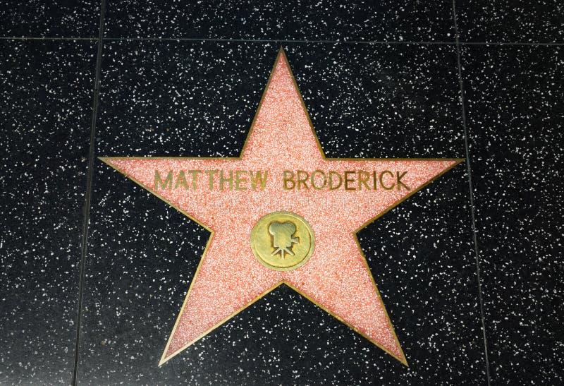Mathew Broderick Star op de Hollywood-Gang van Bekendheid stock foto