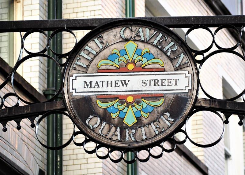 Mathew Uliczny znak uliczny Liverpool, dom Cavern klub zdjęcie royalty free