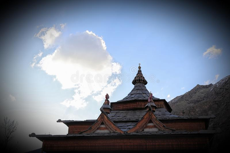 Mathi Temple, Chitkul, Himachal Pradesh. The Mathi Temple is devoted to goddess Shri Mathi, who is the nearby goddess of the general population of Chitkul. The stock photography