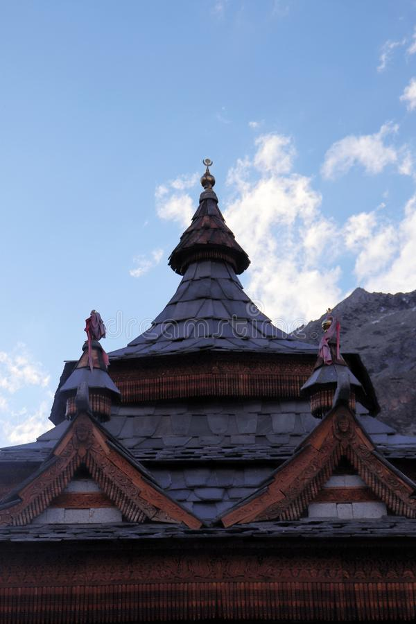 Mathi Temple, Chitkul, Himachal Pradesh. The Mathi Temple is devoted to goddess Shri Mathi, who is the nearby goddess of the general population of Chitkul. The royalty free stock photo