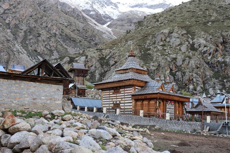 Mathi Temple, Chitkul, Himachal Pradesh. The Mathi Temple is devoted to goddess Shri Mathi, who is the nearby goddess of the general population of Chitkul. The stock image