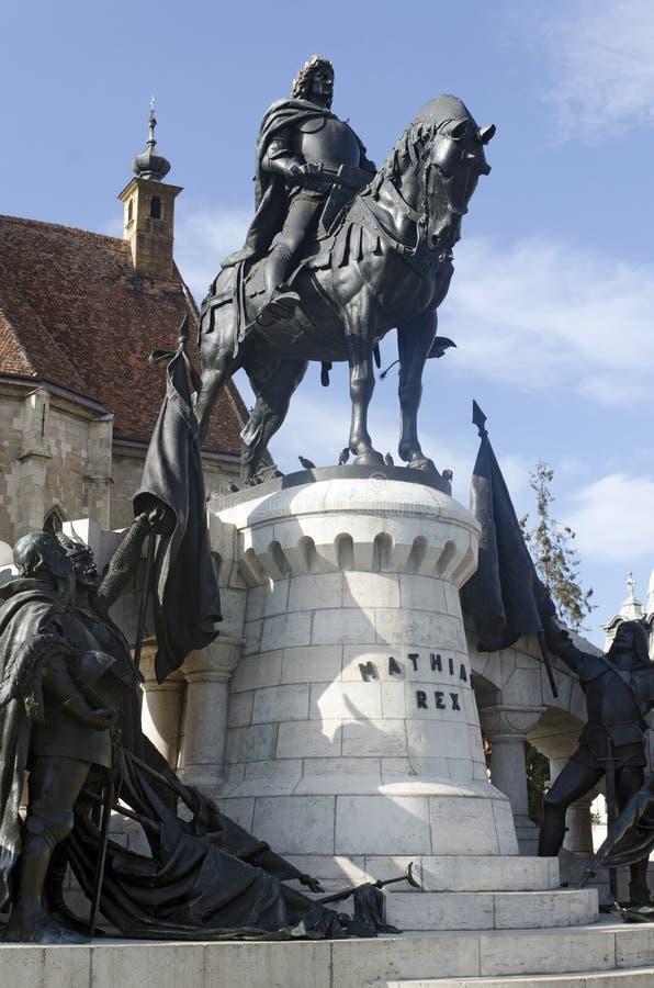 Mathias Corvin staty, Cluj Napoca, Rumänien royaltyfria foton