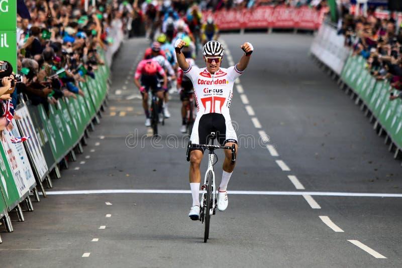 Mathieu van der poel remporte l'étape 4 du Tour de Grande-Bretagne 2019 photographie stock