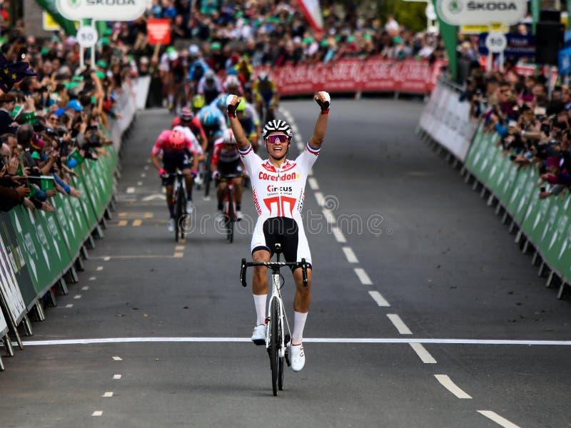 Mathieu van der poel remporte l'étape 4 du Tour de Grande-Bretagne 2019 photos stock