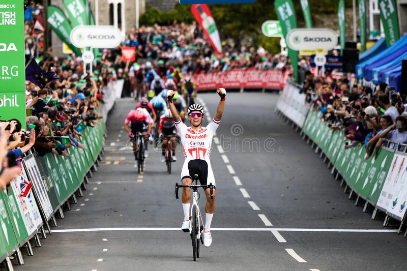Mathieu van der poel wins stage 4 of the Tour of Britain 2019 stock photo