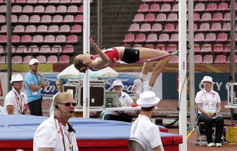 MATHILDE REY ZWITSERLAND op hoogspringen heptathlon gebeurtenis in het IAAF-Wereldu20 Kampioenschap Tampere, royalty-vrije stock afbeelding