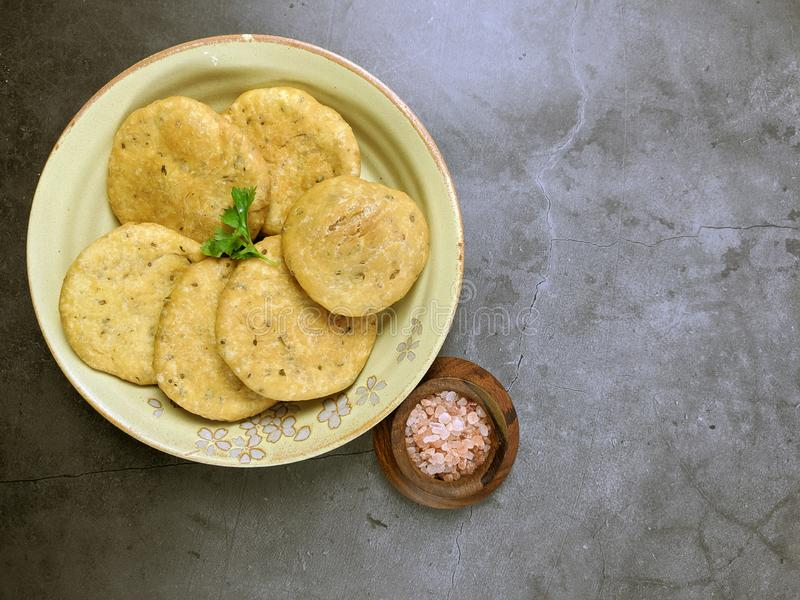 Mathri, an Indian snack made of  whole wheat flour or all purpose flour with fenugreek leaves and Carom seeds royalty free stock photography