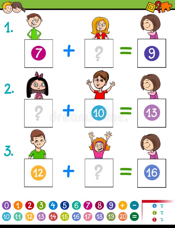 Free Maths Addition Educational Game With Funny Kids Stock Images - 109989354