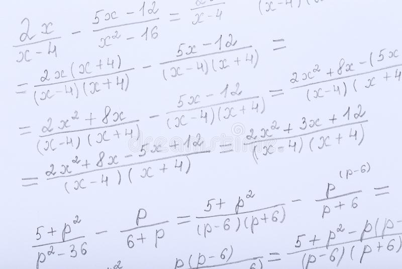 Maths formulas. Exercise book with maths formulas royalty free stock image