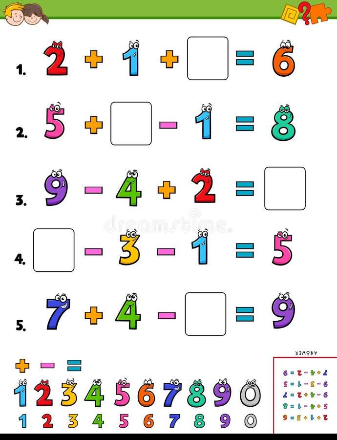 Maths kalkulacyjna edukacyjna gra dla dzieciaków royalty ilustracja