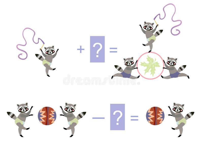 Maths magiques avec les ratons laveurs mignons Jeu éducatif pour des enfants illustration de vecteur