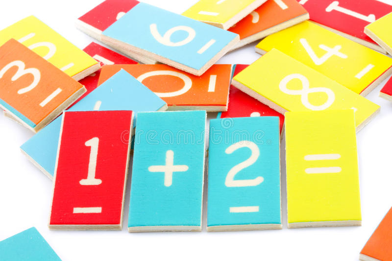 Maths numbers at preschool. Colorful maths numbers isolated on white stock photo