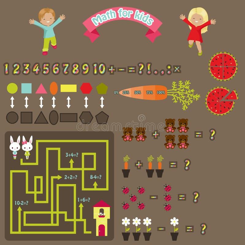 Maths pour des enfants Icônes mignonnes colorées de Web illustration stock