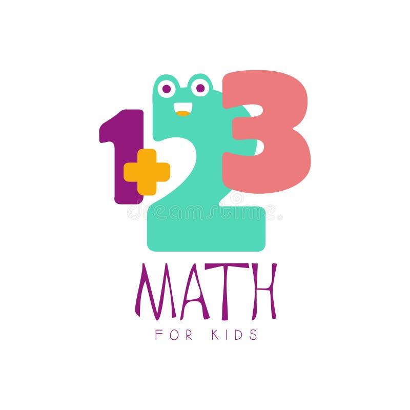 Maths pour le symbole de logo d'enfants Label tiré par la main coloré illustration libre de droits