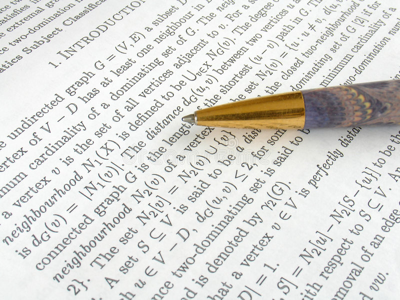 Maths project. And a pen stock photo