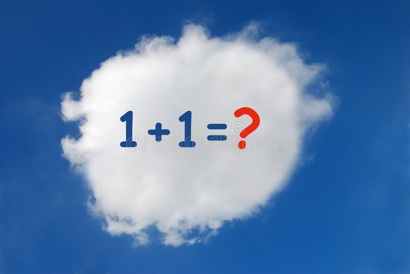 Maths Result. Maths subject of one plus one written in the cloudscape royalty free stock photo