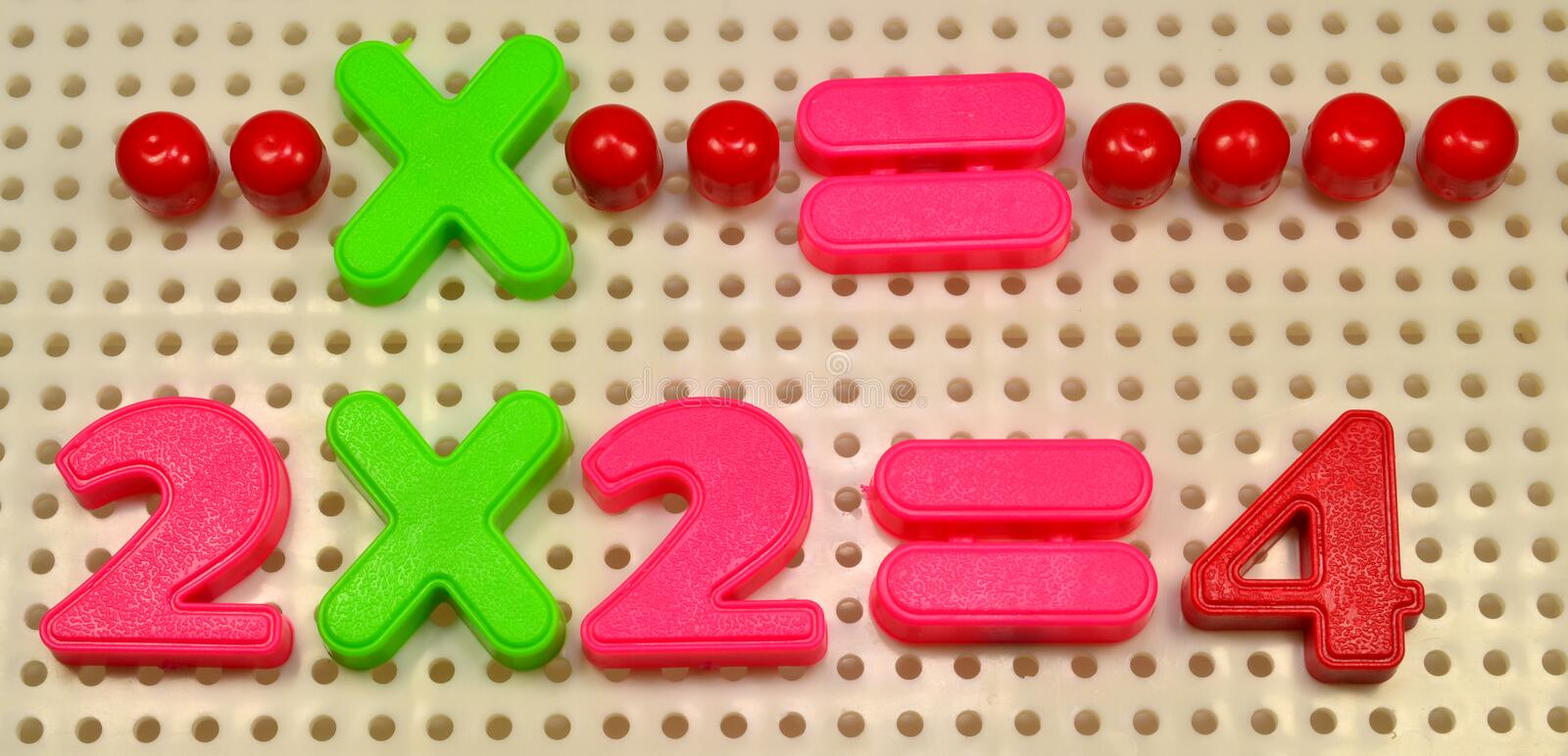 Maths. Sum 2 times 2 equals four. It is another way of explaining it royalty free stock photos